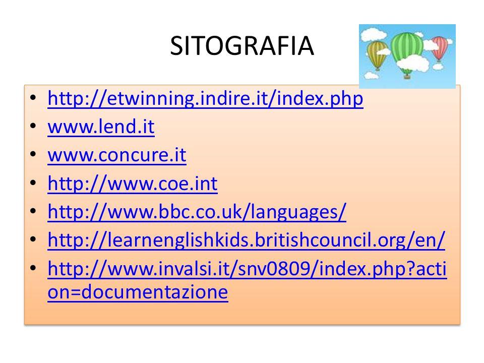 SITOGRAFIA http://etwinning.indire.it/index.php www.lend.it www.concure.it http://www.coe.int http://www.bbc.co.uk/languages/ http://learnenglishkids.