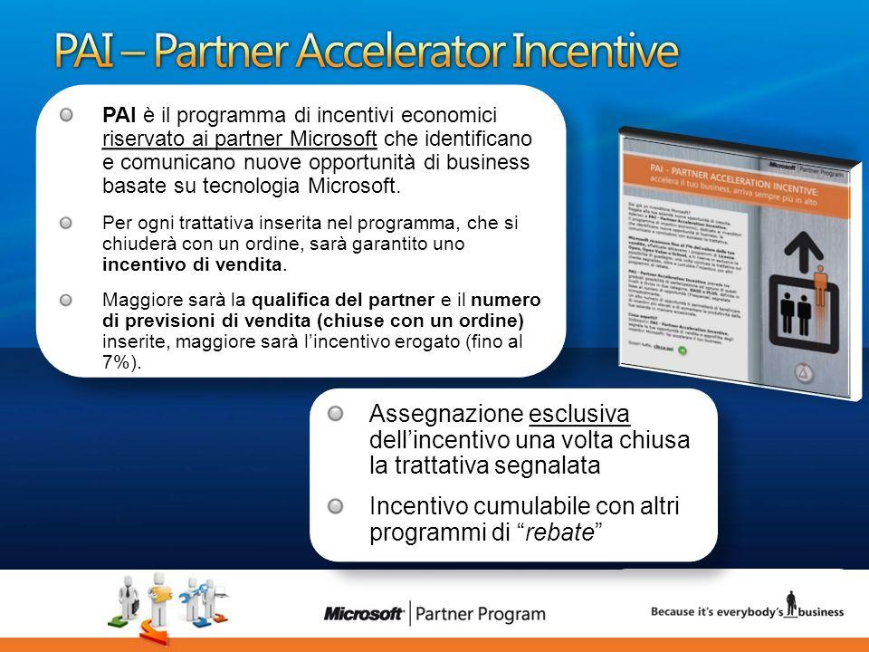 22 luca.DeAngelis@microsoft.com PAI è il programma di incentivi economici riservato ai partner Microsoft che identificano e comunicano nuove opportuni