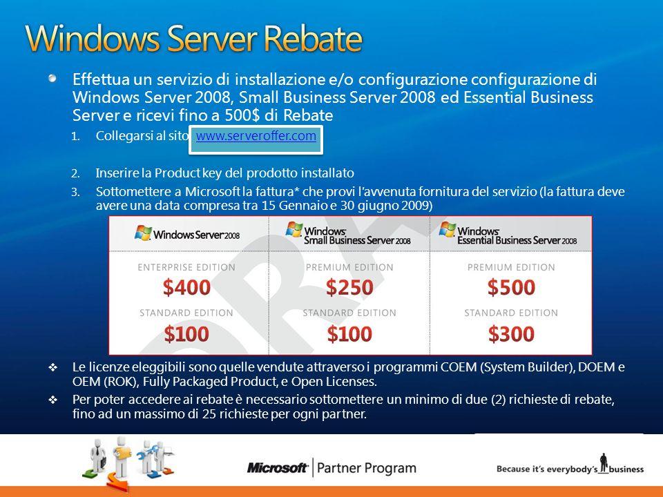 24 luca.DeAngelis@microsoft.com Effettua un servizio di installazione e/o configurazione configurazione di Windows Server 2008, Small Business Server
