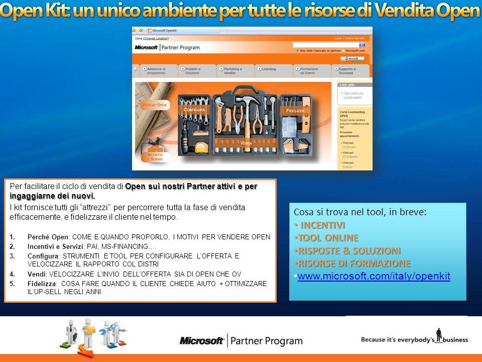 30 luca.DeAngelis@microsoft.com Open sui nostri Partner attivi e per ingaggiarne dei nuovi. Per facilitare il ciclo di vendita di Open sui nostri Part