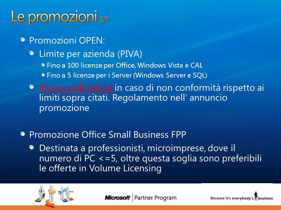 9 luca.DeAngelis@microsoft.com Promozioni OPEN: Limite per azienda (PIVA) Fino a 100 licenze per Office, Windows Vista e CAL Fino a 5 licenze per i Se