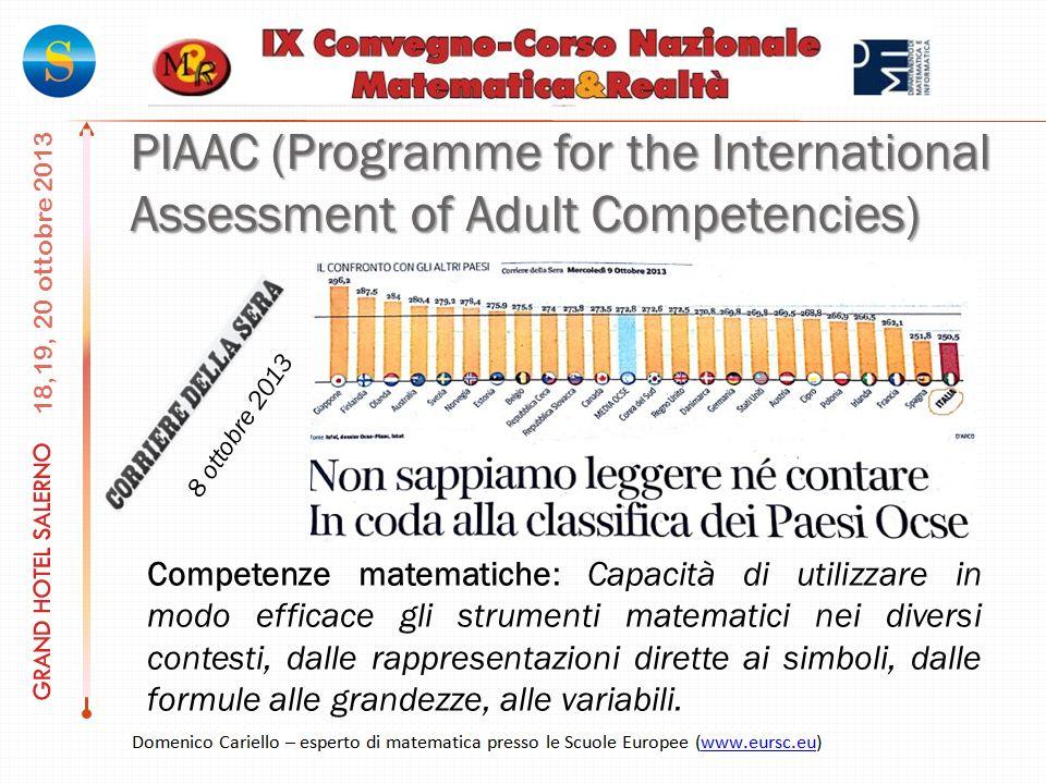 PIAAC (Programme for the International Assessment of Adult Competencies) Competenze matematiche: Capacità di utilizzare in modo efficace gli strumenti matematici nei diversi contesti, dalle rappresentazioni dirette ai simboli, dalle formule alle grandezze, alle variabili.