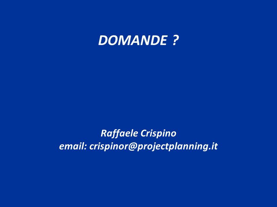 DOMANDE ? Raffaele Crispino email: crispinor@projectplanning.it