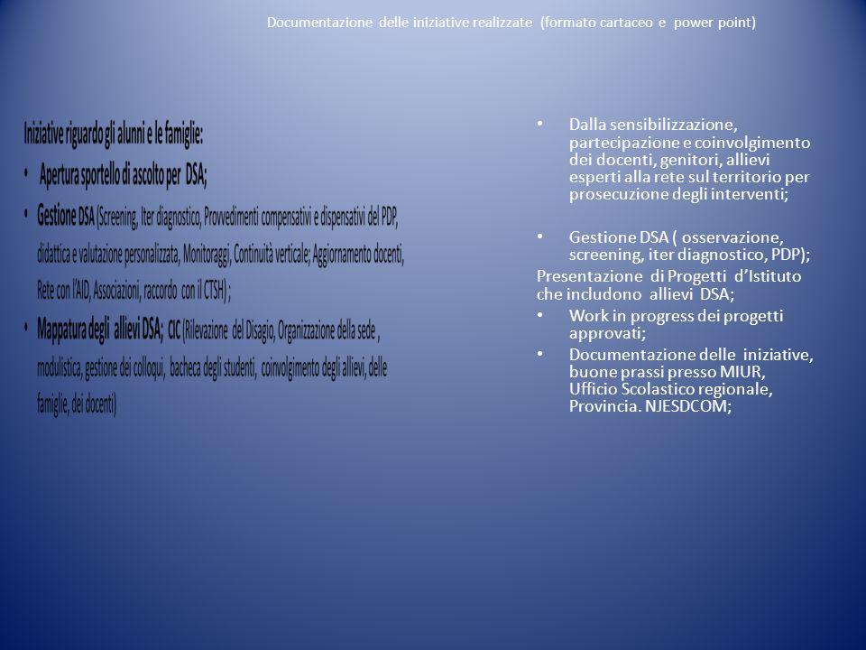 Documentazione delle iniziative realizzate (formato cartaceo e power point) Dalla sensibilizzazione, partecipazione e coinvolgimento dei docenti, geni