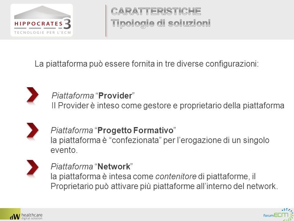 La piattaforma può essere fornita in tre diverse configurazioni: Piattaforma Provider Il Provider è inteso come gestore e proprietario della piattafor