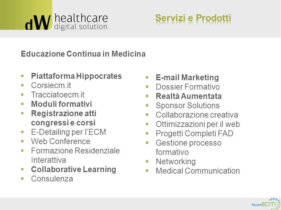 Educazione Continua in Medicina Piattaforma Hippocrates Corsiecm.it Tracciatoecm.it Moduli formativi Registrazione atti congressi e corsi E-Detailing