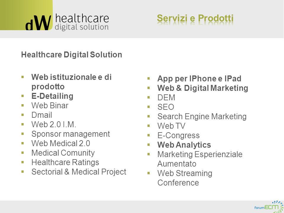 Healthcare Digital Solution Web istituzionale e di prodotto E-Detailing Web Binar Dmail Web 2.0 I.M. Sponsor management Web Medical 2.0 Medical Comuni