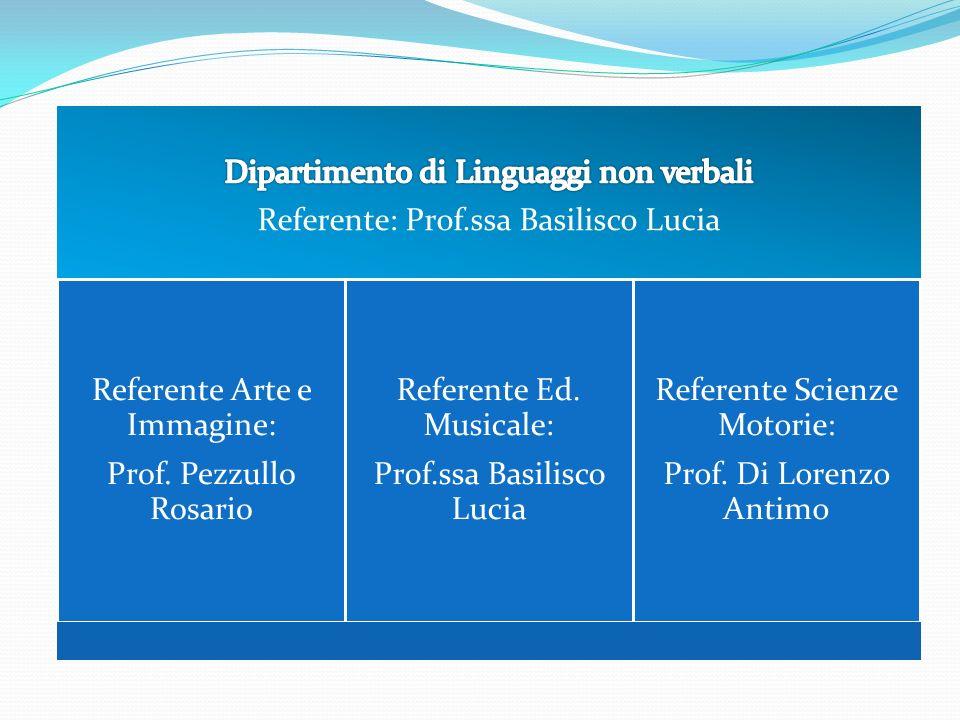 Referente Arte e Immagine: Prof. Pezzullo Rosario Referente Ed. Musicale: Prof.ssa Basilisco Lucia Referente Scienze Motorie: Prof. Di Lorenzo Antimo
