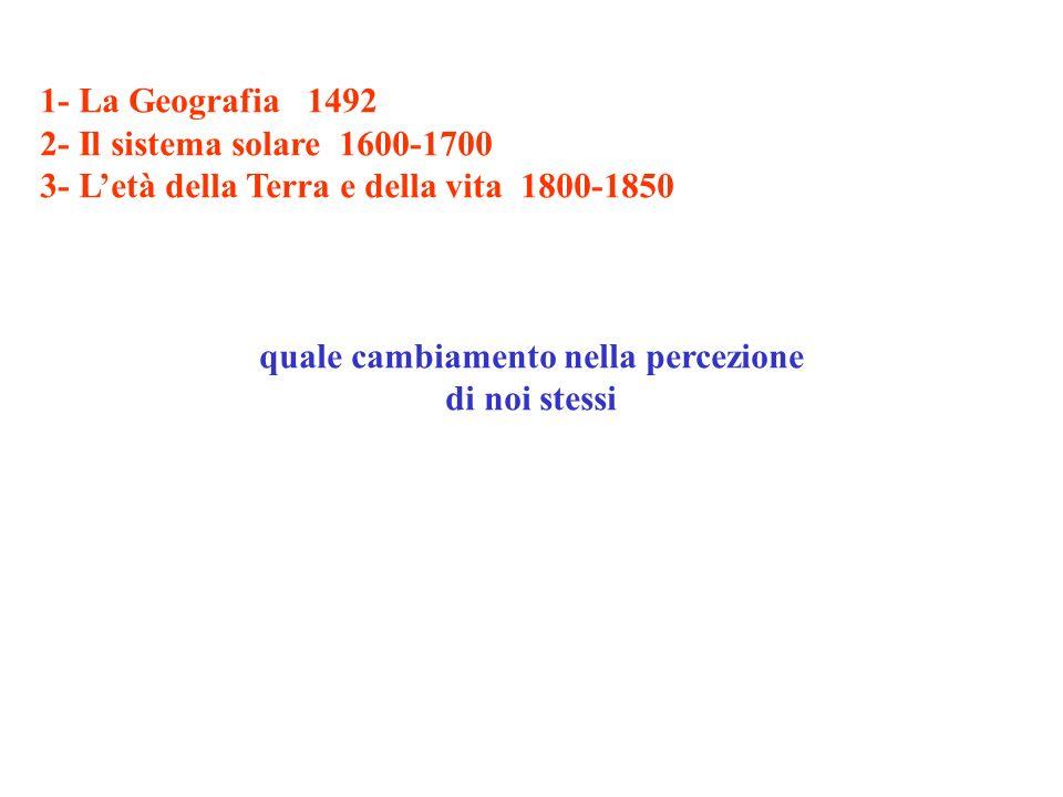 1- La Geografia 1492 2- Il sistema solare 1600-1700 3- Letà della Terra e della vita 1800-1850 quale cambiamento nella percezione di noi stessi