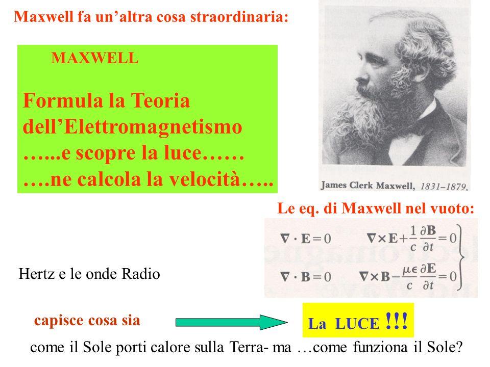 La LUCE !!! Le eq. di Maxwell nel vuoto: MAXWELL Formula la Teoria dellElettromagnetismo …...e scopre la luce…… ….ne calcola la velocità….. capisce co