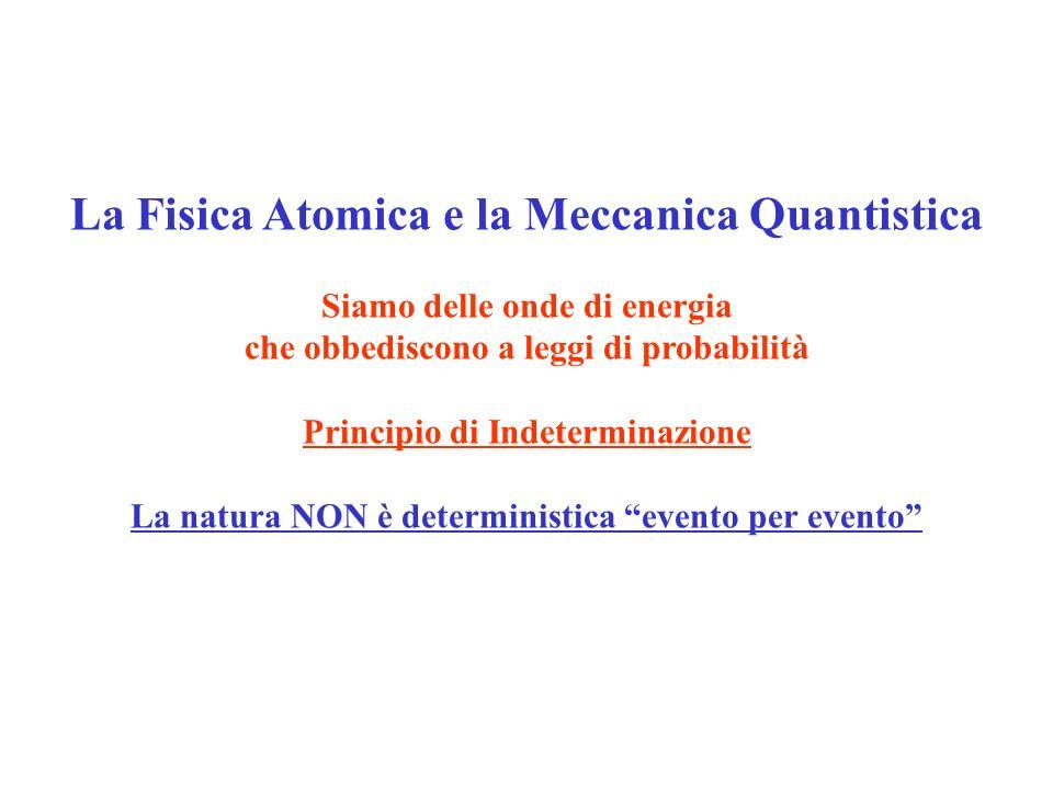 La Fisica Atomica e la Meccanica Quantistica Siamo delle onde di energia che obbediscono a leggi di probabilità Principio di Indeterminazione La natur