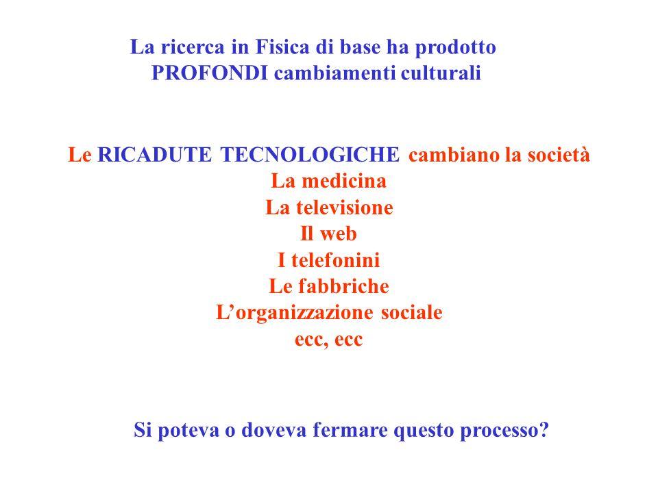 Le RICADUTE TECNOLOGICHE cambiano la società La medicina La televisione Il web I telefonini Le fabbriche Lorganizzazione sociale ecc, ecc La ricerca i