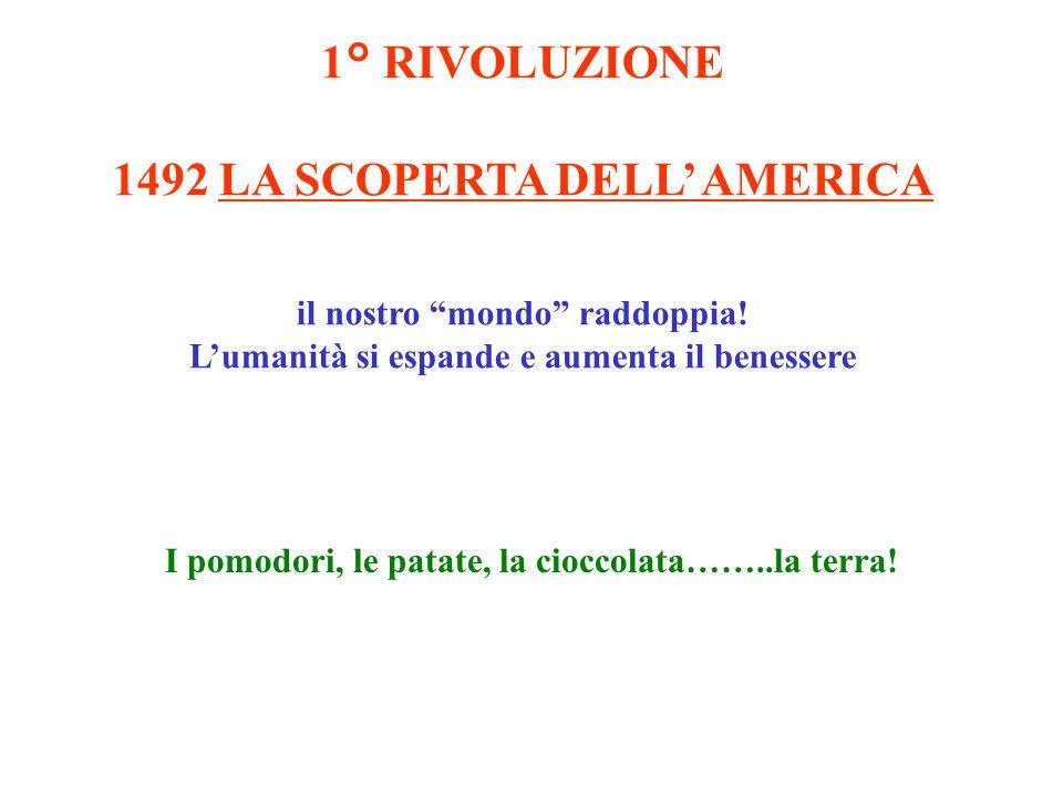 1° RIVOLUZIONE 1492 LA SCOPERTA DELL AMERICA il nostro mondo raddoppia! Lumanità si espande e aumenta il benessere I pomodori, le patate, la cioccolat