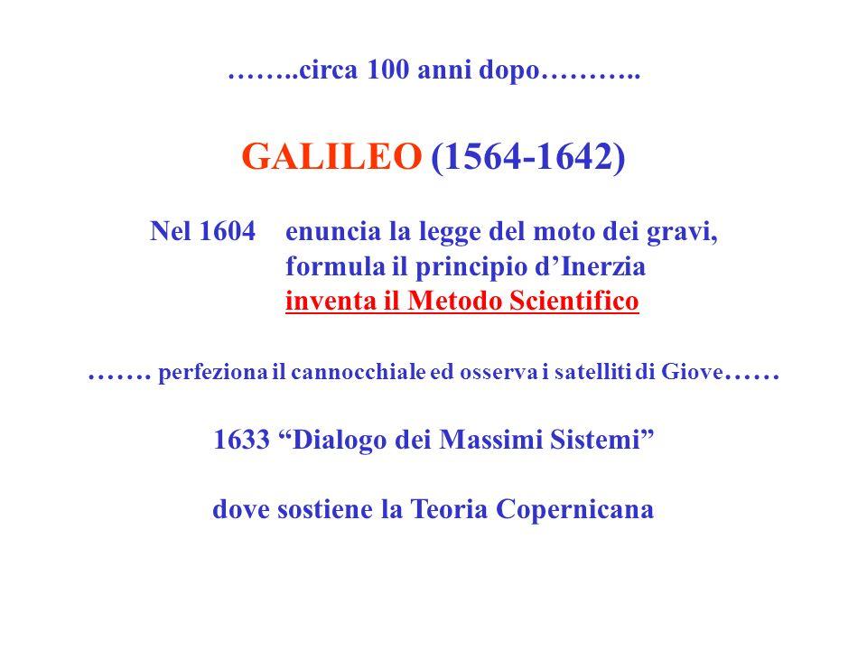 ……..circa 100 anni dopo……….. GALILEO (1564-1642) Nel 1604 enuncia la legge del moto dei gravi, formula il principio dInerzia inventa il Metodo Scienti