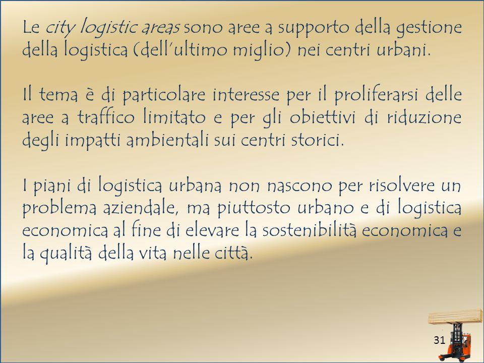 31 Le city logistic areas sono aree a supporto della gestione della logistica (dellultimo miglio) nei centri urbani.