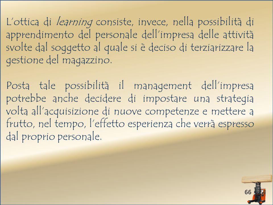 66 Lottica di learning consiste, invece, nella possibilità di apprendimento del personale dellimpresa delle attività svolte dal soggetto al quale si è deciso di terziarizzare la gestione del magazzino.