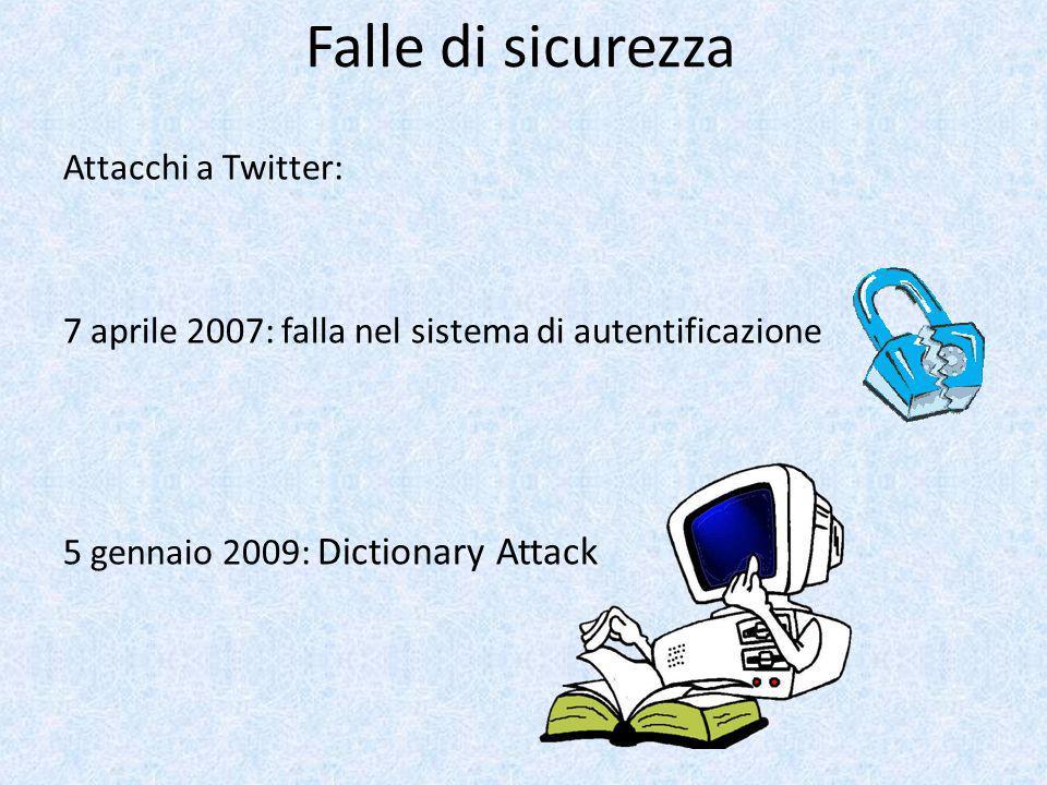 Falle di sicurezza Attacchi a Twitter: 7 aprile 2007: falla nel sistema di autentificazione 5 gennaio 2009: Dictionary Attack
