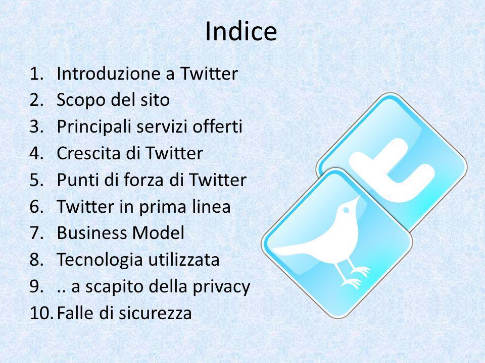 Indice 1.Introduzione a Twitter 2.Scopo del sito 3.Principali servizi offerti 4.Crescita di Twitter 5.Punti di forza di Twitter 6.Twitter in prima lin