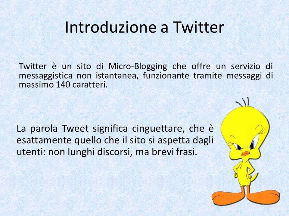 Introduzione a Twitter Twitter è un sito di Micro-Blogging che offre un servizio di messaggistica non istantanea, funzionante tramite messaggi di mass