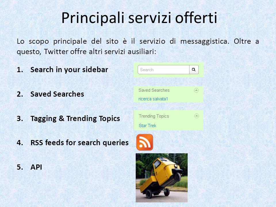 Principali servizi offerti Lo scopo principale del sito è il servizio di messaggistica. Oltre a questo, Twitter offre altri servizi ausiliari: 1.Searc