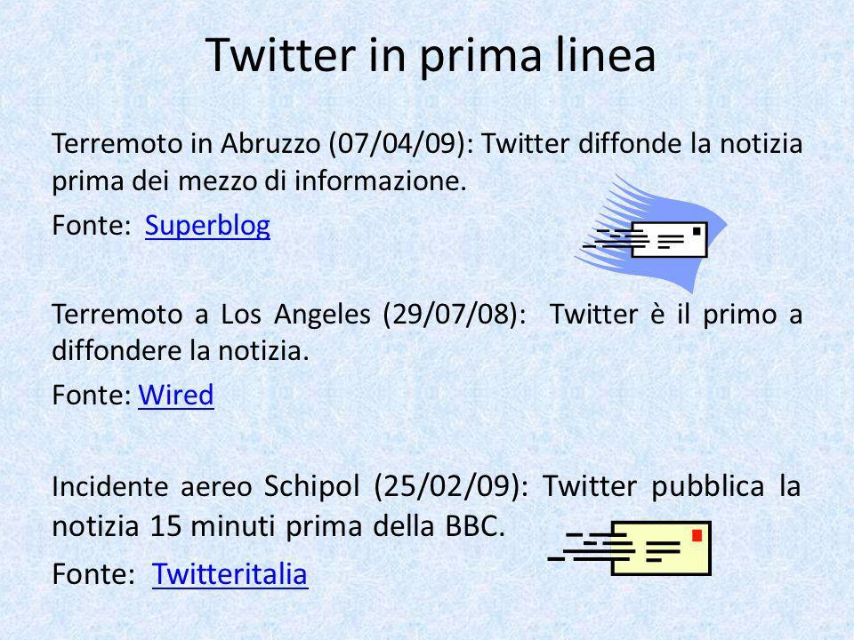 Twitter in prima linea Terremoto in Abruzzo (07/04/09): Twitter diffonde la notizia prima dei mezzo di informazione. Fonte: SuperblogSuperblog Terremo