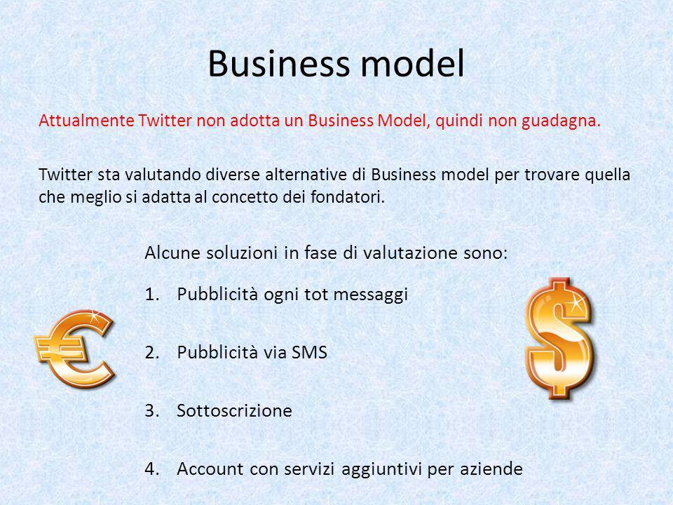 Business model Attualmente Twitter non adotta un Business Model, quindi non guadagna. Twitter sta valutando diverse alternative di Business model per
