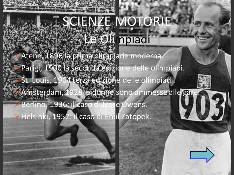 SCIENZE MOTORIE Le Olimpiadi Atene, 1896 la prima olimpiade moderna.