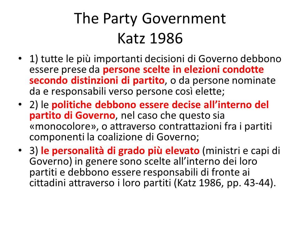 The Party Government Katz 1986 1) tutte le più importanti decisioni di Governo debbono essere prese da persone scelte in elezioni condotte secondo dis