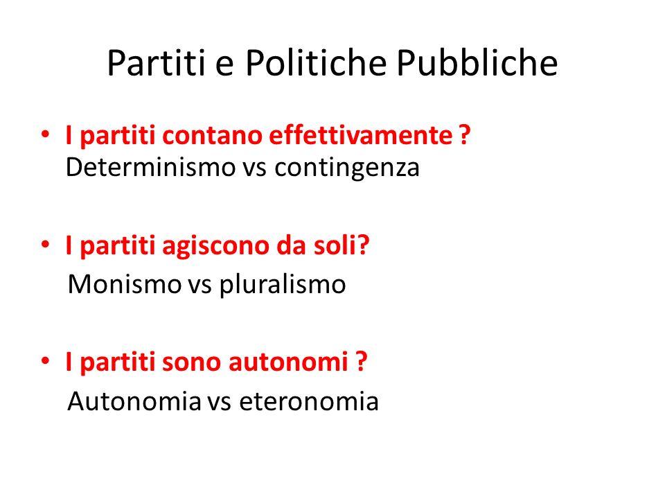 Partiti e Politiche Pubbliche I partiti contano effettivamente ? Determinismo vs contingenza I partiti agiscono da soli? Monismo vs pluralismo I parti