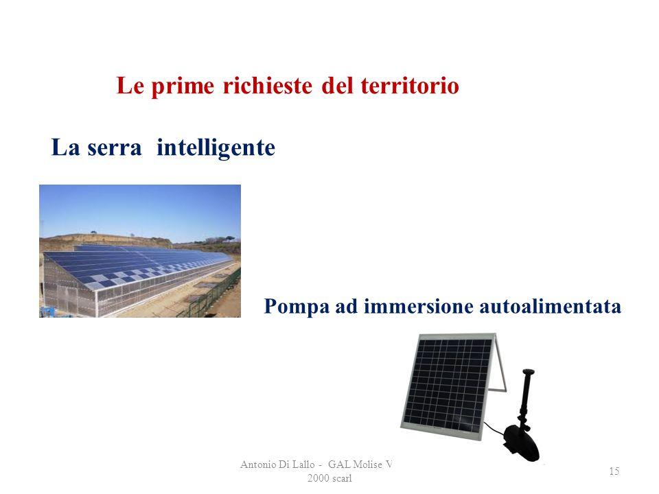 Antonio Di Lallo - GAL Molise Verso il 2000 scarl 15 Le prime richieste del territorio La serra intelligente Pompa ad immersione autoalimentata