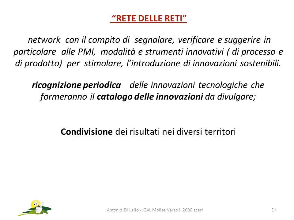 Antonio Di Lallo - GAL Molise Verso il 2000 scarl17 RETE DELLE RETI network con il compito di segnalare, verificare e suggerire in particolare alle PM