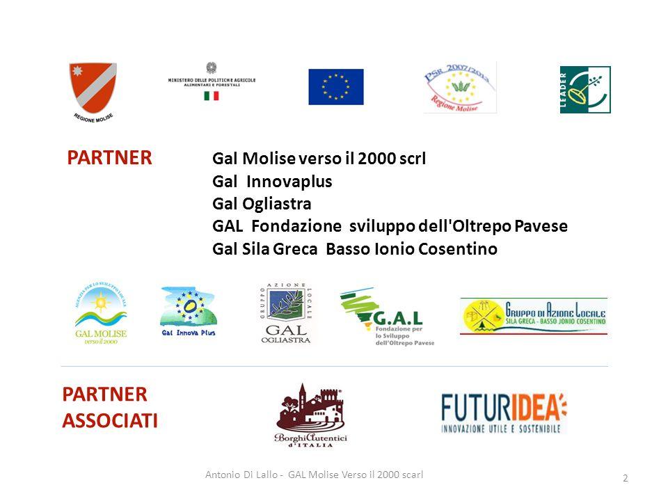 Antonio Di Lallo - GAL Molise Verso il 2000 scarl 2 PARTNER ASSOCIATI PARTNER Gal Molise verso il 2000 scrl Gal Innovaplus Gal Ogliastra GAL Fondazion