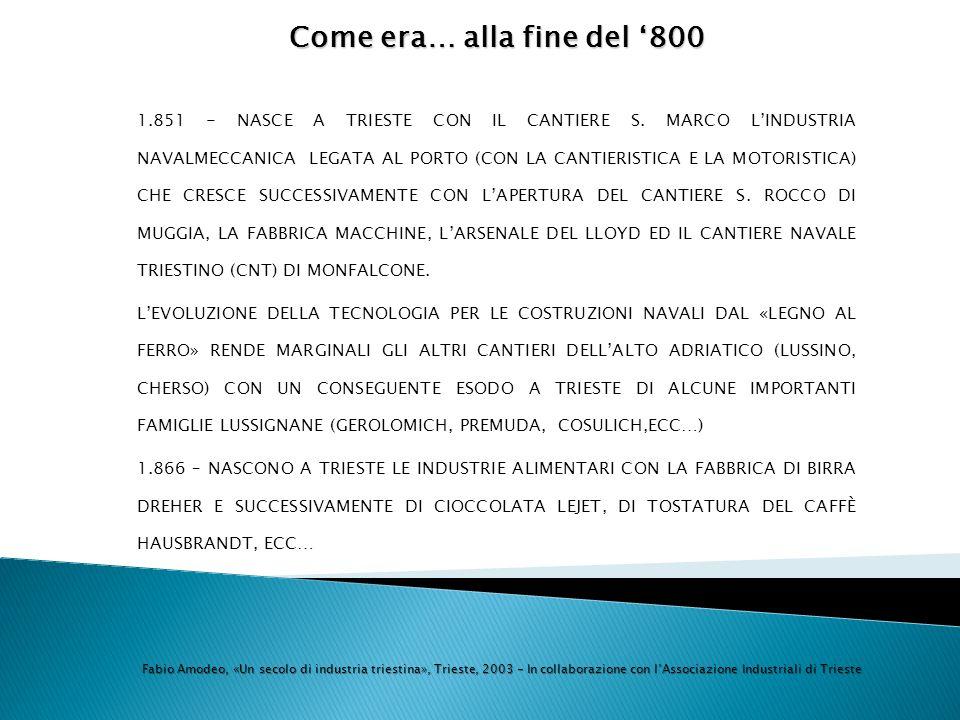 Come era…alla fine del 800 Come era… alla fine del 800 1.851 - NASCE A TRIESTE CON IL CANTIERE S. MARCO LINDUSTRIA NAVALMECCANICA LEGATA AL PORTO (CON