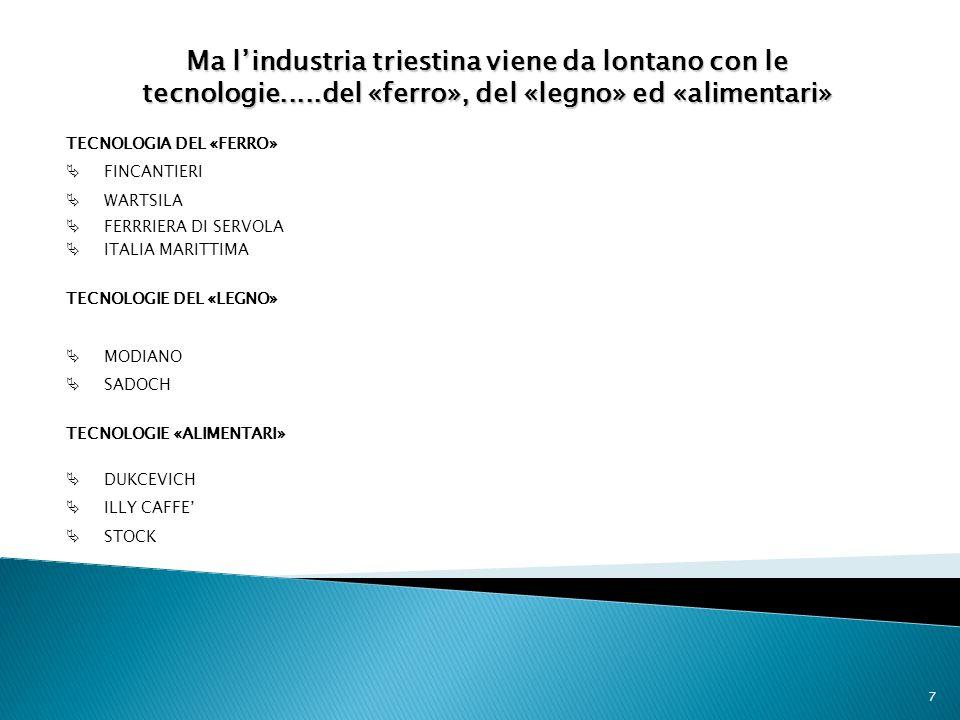 7 TECNOLOGIA DEL «FERRO» FINCANTIERI WARTSILA FERRRIERA DI SERVOLA ITALIA MARITTIMA TECNOLOGIE DEL «LEGNO» MODIANO SADOCH TECNOLOGIE «ALIMENTARI» DUKC
