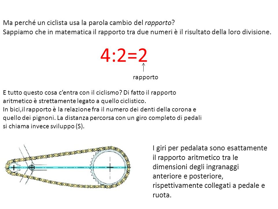 Ma perché un ciclista usa la parola cambio del rapporto? Sappiamo che in matematica il rapporto tra due numeri è il risultato della loro divisione. 4: