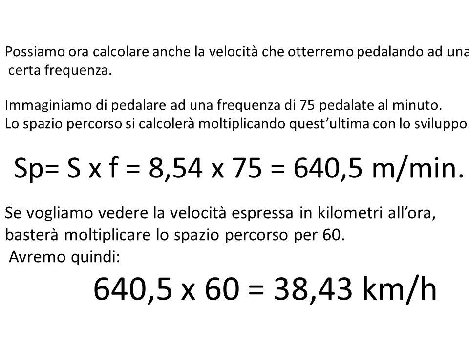 Possiamo ora calcolare anche la velocità che otterremo pedalando ad una certa frequenza. Immaginiamo di pedalare ad una frequenza di 75 pedalate al mi