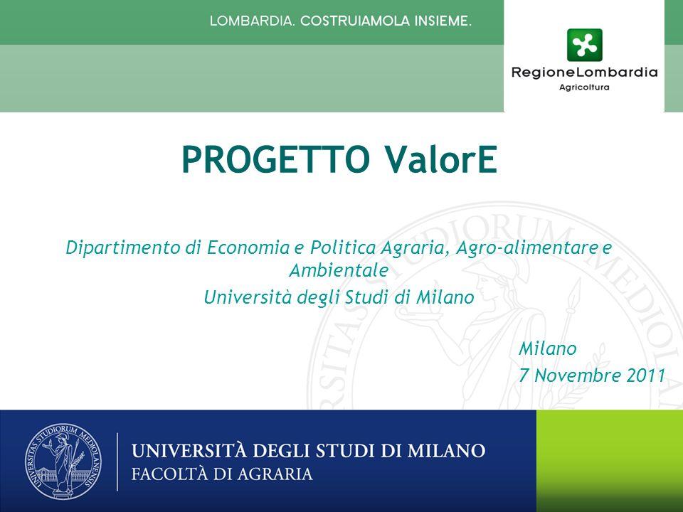 Milano 7 Novembre 2011 PROGETTO ValorE Dipartimento di Economia e Politica Agraria, Agro-alimentare e Ambientale Università degli Studi di Milano