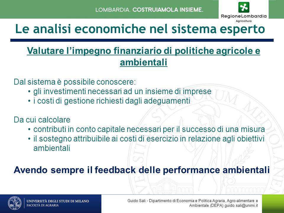 Le analisi economiche nel sistema esperto Valutare limpegno finanziario di politiche agricole e ambientali Dal sistema è possibile conoscere: gli inve