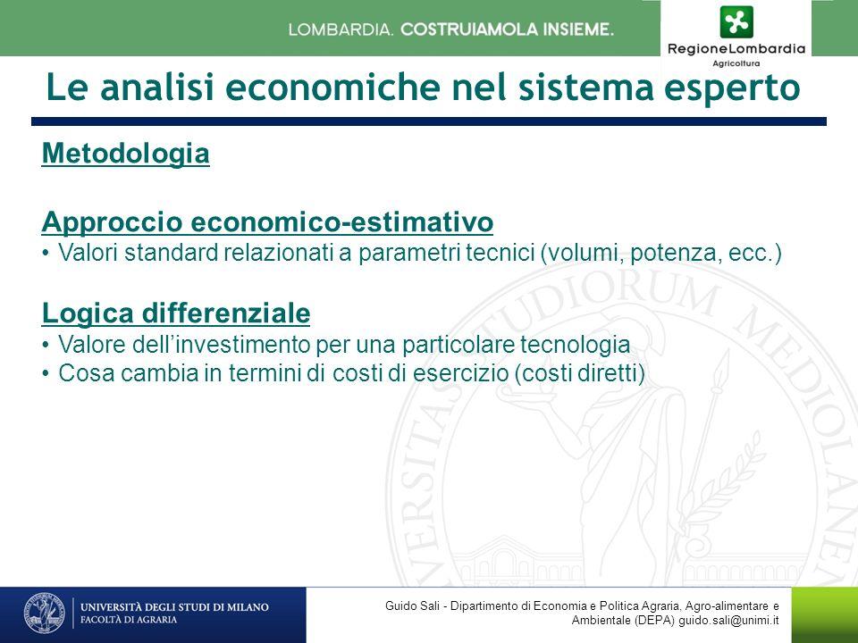 Le analisi economiche nel sistema esperto Metodologia Approccio economico-estimativo Valori standard relazionati a parametri tecnici (volumi, potenza,