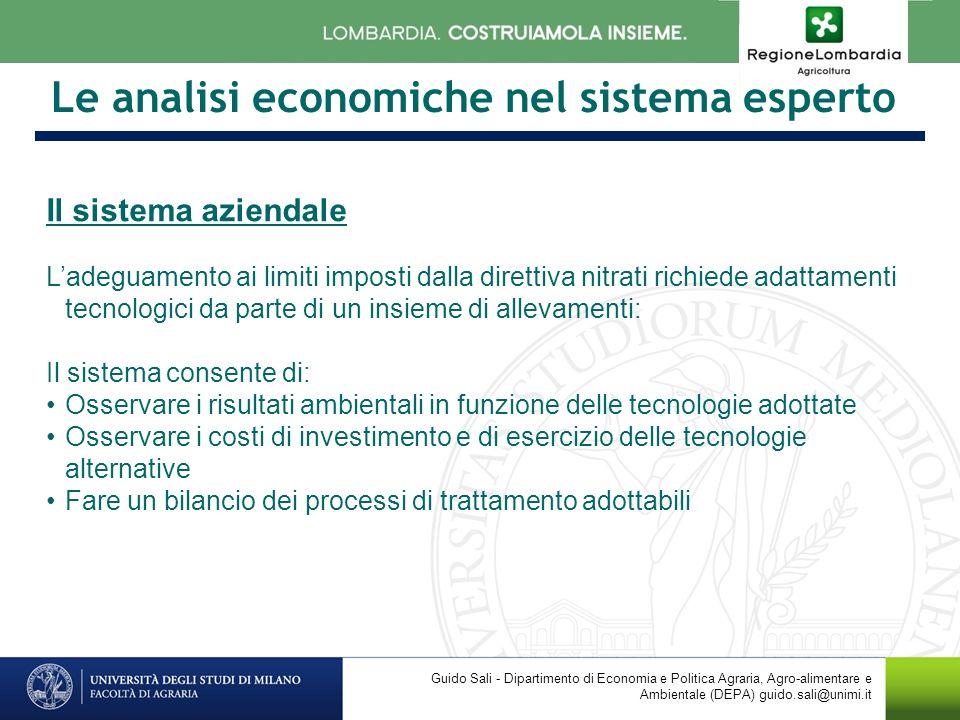 Le analisi economiche nel sistema esperto Il sistema aziendale Ladeguamento ai limiti imposti dalla direttiva nitrati richiede adattamenti tecnologici