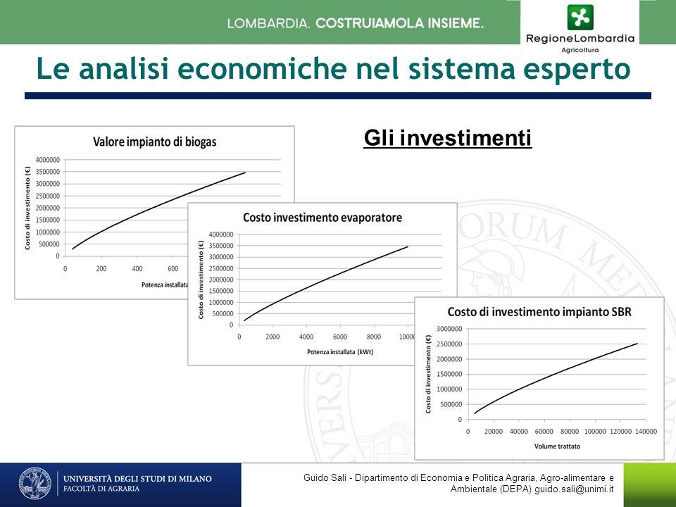 Le analisi economiche nel sistema esperto Guido Sali - Dipartimento di Economia e Politica Agraria, Agro-alimentare e Ambientale (DEPA) guido.sali@unimi.it Gli investimenti