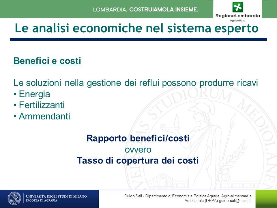 Le analisi economiche nel sistema esperto Benefici e costi Le soluzioni nella gestione dei reflui possono produrre ricavi Energia Fertilizzanti Ammend