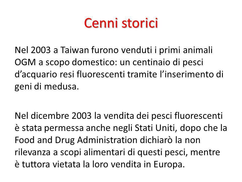 Cenni storici Nel 2003 a Taiwan furono venduti i primi animali OGM a scopo domestico: un centinaio di pesci dacquario resi fluorescenti tramite linser
