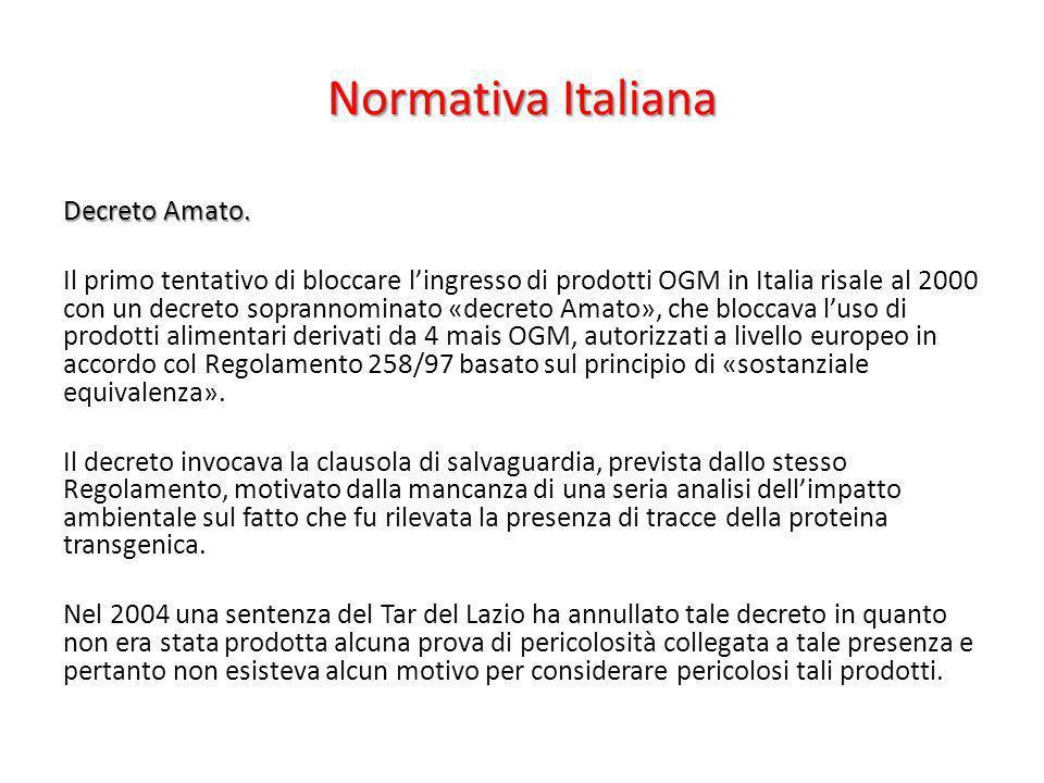Normativa Italiana Decreto Amato. Il primo tentativo di bloccare lingresso di prodotti OGM in Italia risale al 2000 con un decreto soprannominato «dec
