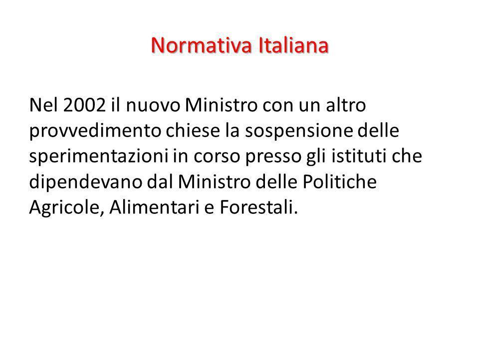 Normativa Italiana Nel 2002 il nuovo Ministro con un altro provvedimento chiese la sospensione delle sperimentazioni in corso presso gli istituti che