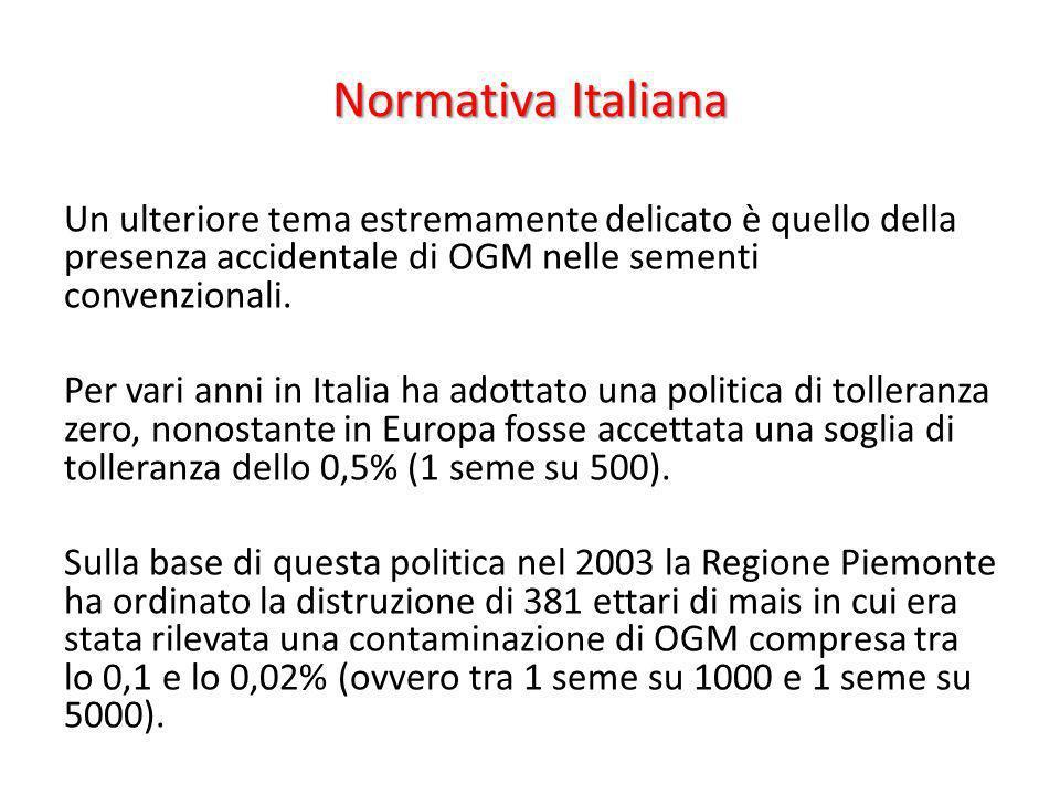 Normativa Italiana Un ulteriore tema estremamente delicato è quello della presenza accidentale di OGM nelle sementi convenzionali. Per vari anni in It