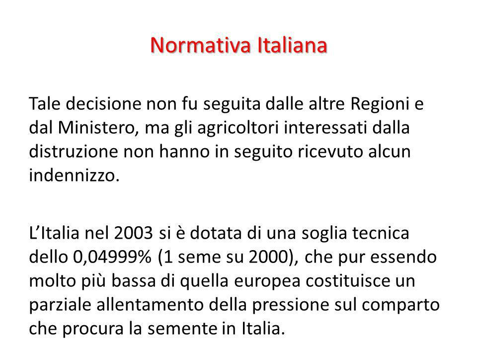 Normativa Italiana Tale decisione non fu seguita dalle altre Regioni e dal Ministero, ma gli agricoltori interessati dalla distruzione non hanno in se