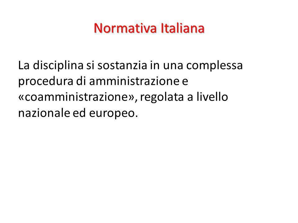 Normativa Italiana La disciplina si sostanzia in una complessa procedura di amministrazione e «coamministrazione», regolata a livello nazionale ed eur