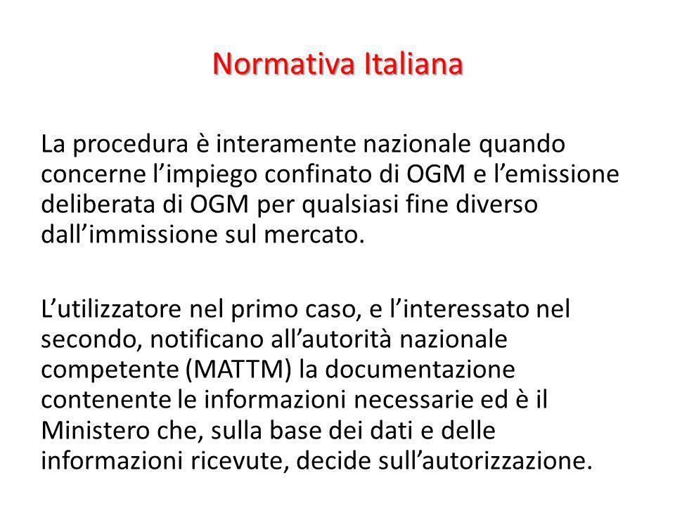 Normativa Italiana La procedura è interamente nazionale quando concerne limpiego confinato di OGM e lemissione deliberata di OGM per qualsiasi fine di