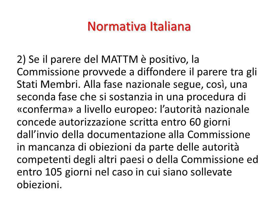 Normativa Italiana 2) Se il parere del MATTM è positivo, la Commissione provvede a diffondere il parere tra gli Stati Membri. Alla fase nazionale segu